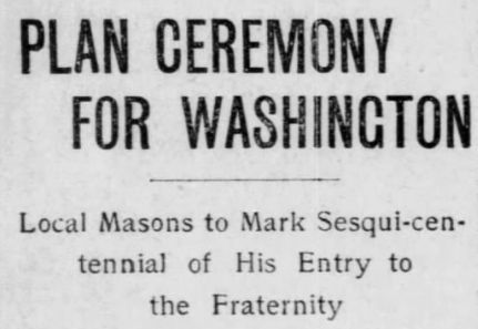 Washington Becomes Master Mason, Sesquicentennial